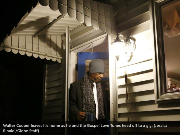 Walter Cooper leaves his home as he and the Gospel Love Tones head off to a gig. (Jessica Rinaldi/Globe Staff)