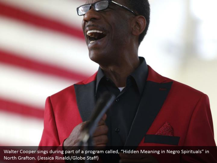 "Walter Cooper sings during part of a program called, ""Hidden Meaning in Negro Spirituals"" in North Grafton. (Jessica Rinaldi/Globe Staff)"