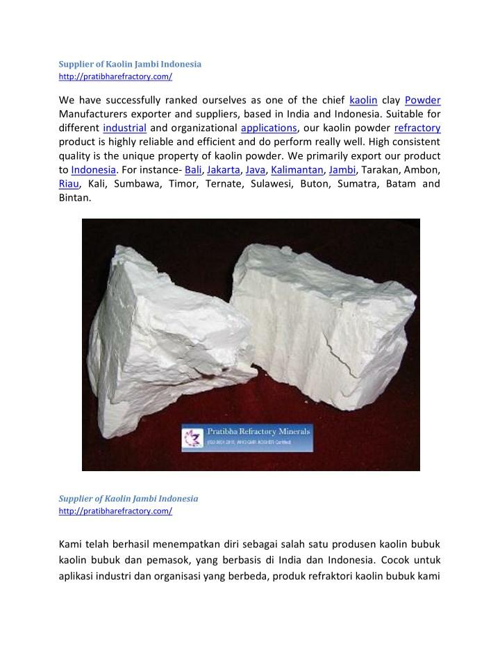 Supplier of Kaolin Jambi Indonesia