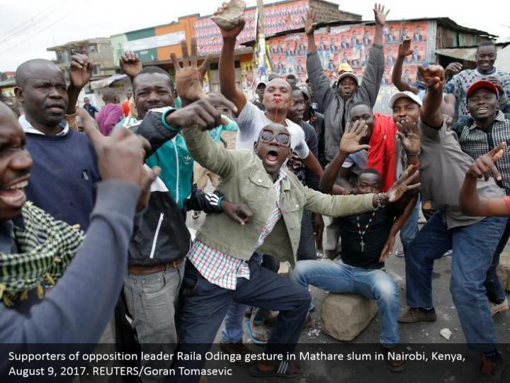 Supporters of opposition leader Raila Odinga gesture in Mathare slum in Nairobi, Kenya, August 9, 2017. REUTERS/Goran Tomasevic
