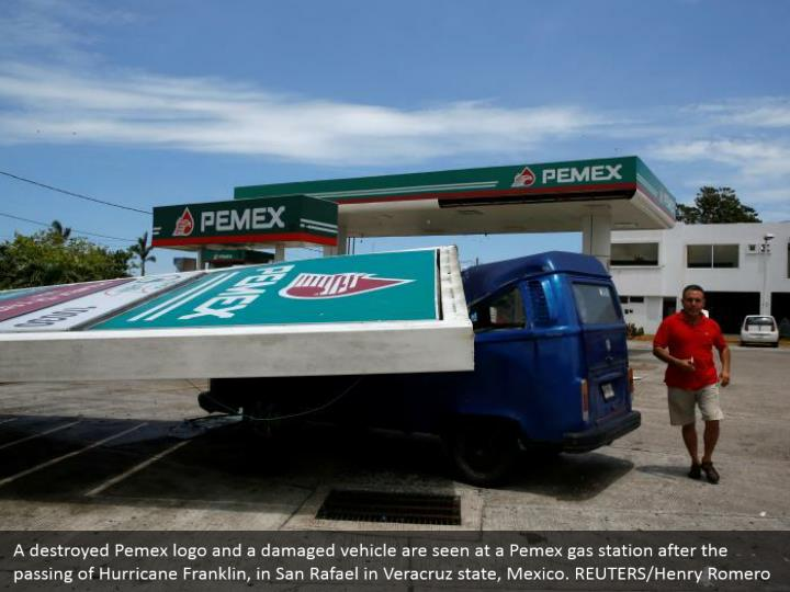 A destroyed Pemex logo and a damaged vehicle are seen at a Pemex gas station after the passing of Hurricane Franklin, in San Rafael in Veracruz state, Mexico. REUTERS/Henry Romero