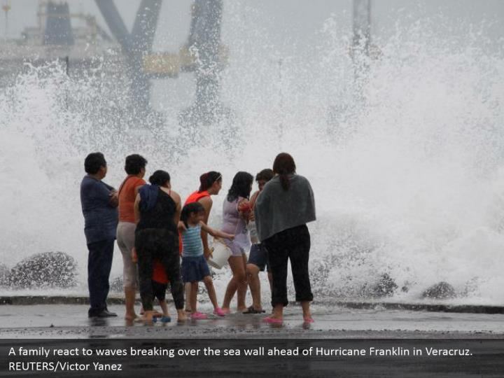 A family react to waves breaking over the sea wall ahead of Hurricane Franklin in Veracruz. REUTERS/Victor Yanez