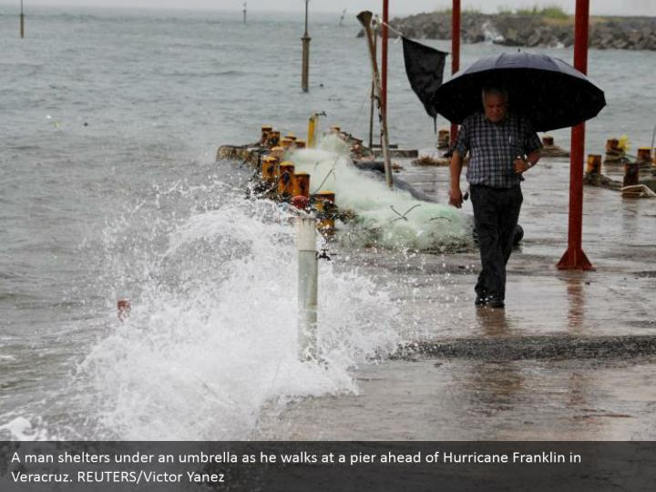 A man shelters under an umbrella as he walks at a pier ahead of Hurricane Franklin in Veracruz. REUTERS/Victor Yanez