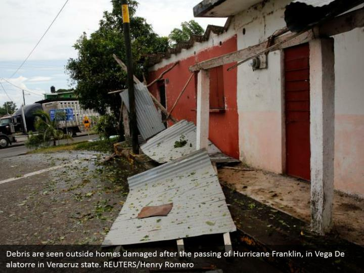 Debris are seen outside homes damaged after the passing of Hurricane Franklin, in Vega De alatorre in Veracruz state. REUTERS/Henry Romero
