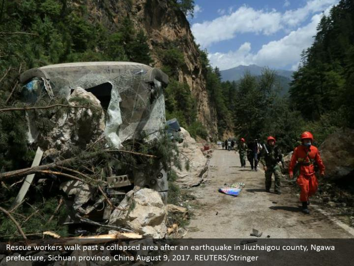 Rescue workers walk past a collapsed area after an earthquake in Jiuzhaigou county, Ngawa prefecture, Sichuan province, China August 9, 2017. REUTERS/Stringer