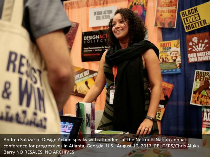 Andrea Salazar of Design Action speaks with attendees at the Netroots Nation annual conference for progressives in Atlanta, Georgia, U.S., August 10, 2017. REUTERS/Chris Aluka Berry NO RESALES. NO ARCHIVES