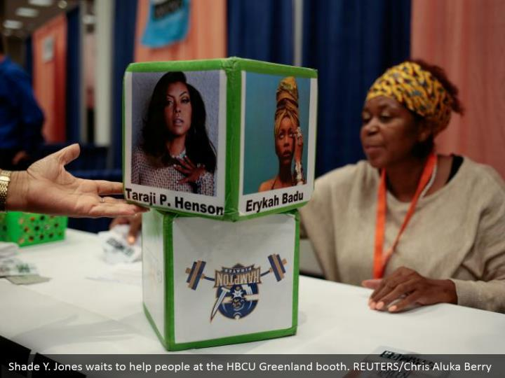 Shade Y. Jones waits to help people at the HBCU Greenland booth. REUTERS/Chris Aluka Berry