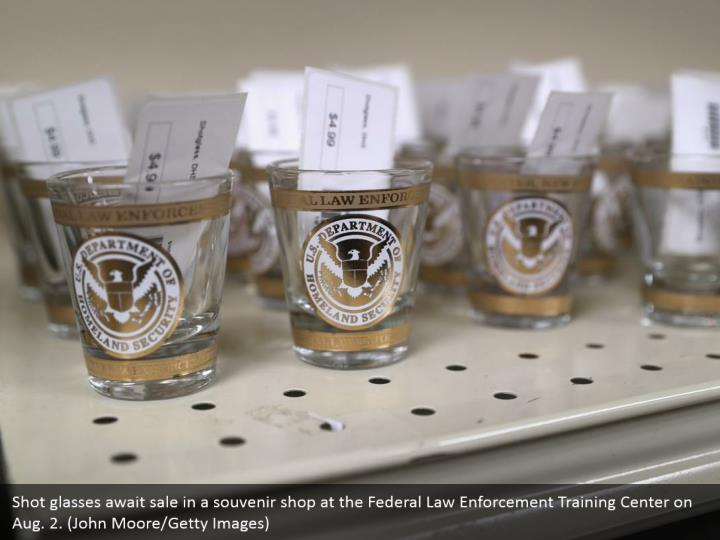 Shot glasses await sale in a souvenir shop at the Federal Law Enforcement Training Center on Aug. 2. (John Moore/Getty Images)