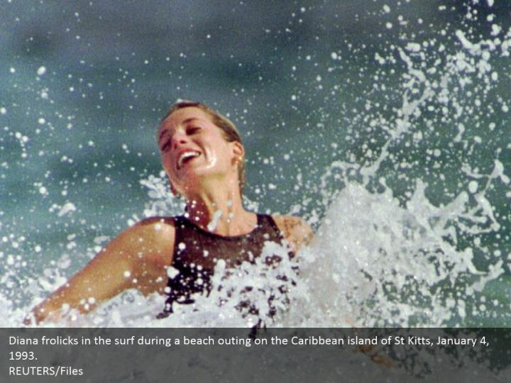 Diana frolicks in the surf during a beach outing on the Caribbean island of St Kitts, January 4, 1993.  REUTERS/Files