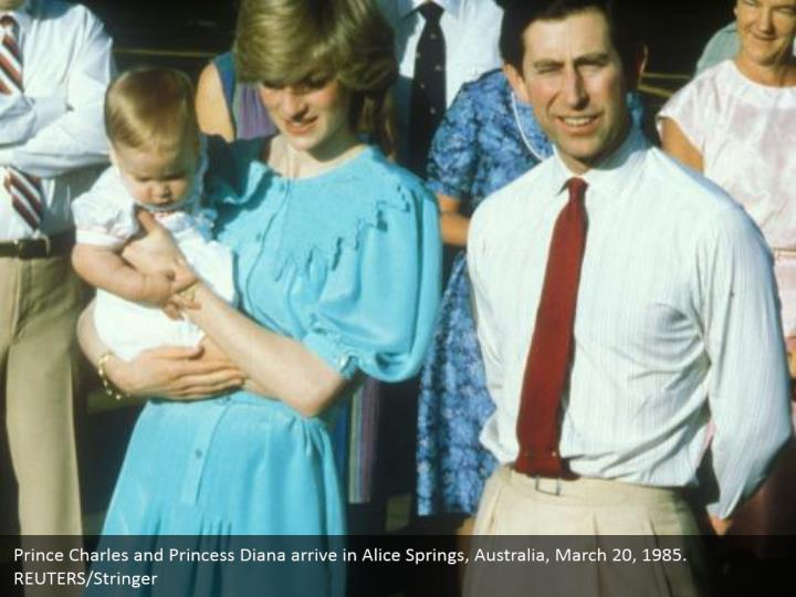 Prince Charles and Princess Diana arrive in Alice Springs, Australia, March 20, 1985.  REUTERS/Stringer