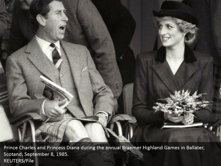 Prince Charles and Princess Diana during the annual Braemer Highland Games in Ballater, Scotand, September 8, 1985.  REUTERS/File