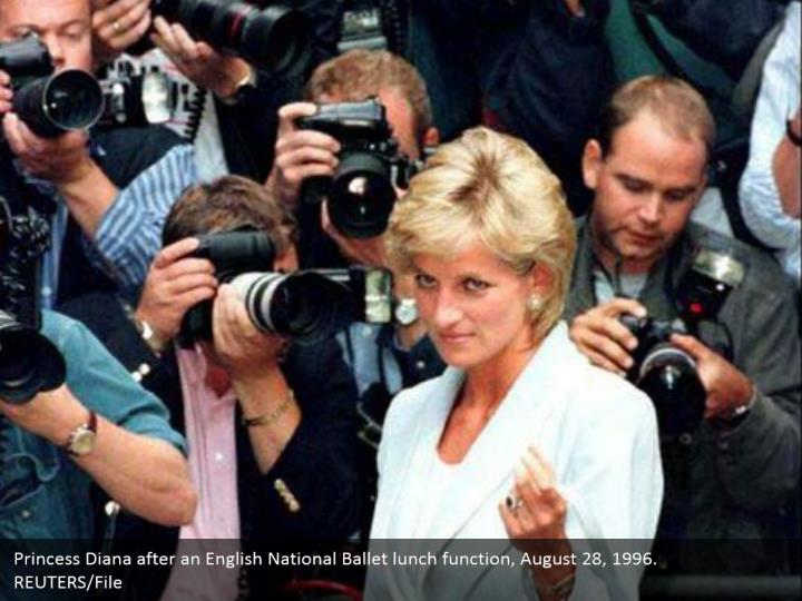 Princess Diana after an English National Ballet lunch function, August 28, 1996.  REUTERS/File