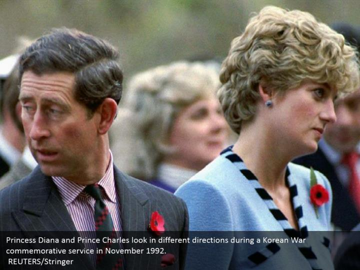 Princess Diana and Prince Charles look in different directions during a Korean War commemorative service in November 1992.    REUTERS/Stringer