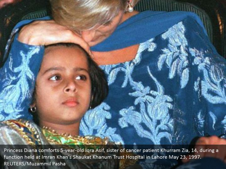 Princess Diana comforts 5-year-old Iqra Asif, sister of cancer patient Khurram Zia, 14, during a function held at Imran Khan's Shaukat Khanum Trust Hospital in Lahore May 23, 1997.  REUTERS/Muzammil Pasha