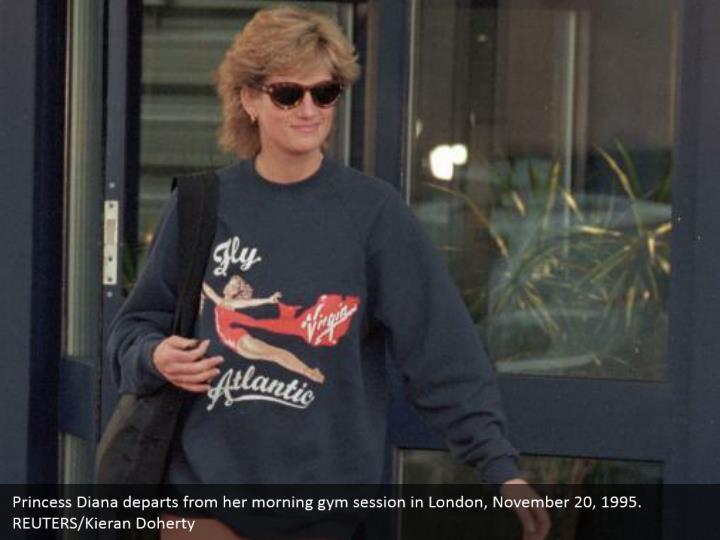 Princess Diana departs from her morning gym session in London, November 20, 1995.  REUTERS/Kieran Doherty