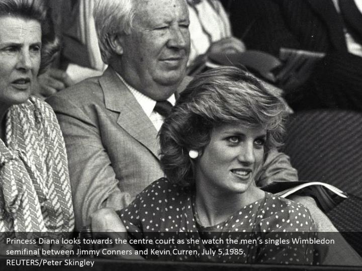 Princess Diana looks towards the centre court as she watch the men's singles Wimbledon semifinal between Jimmy Conners and Kevin Curren, July 5,1985.  REUTERS/Peter Skingley
