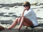 princess diana relaxes on the sand during a visit