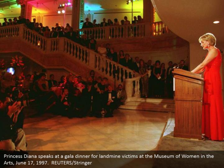 Princess Diana speaks at a gala dinner for landmine victims at the Museum of Women in the Arts, June 17, 1997.  REUTERS/Stringer