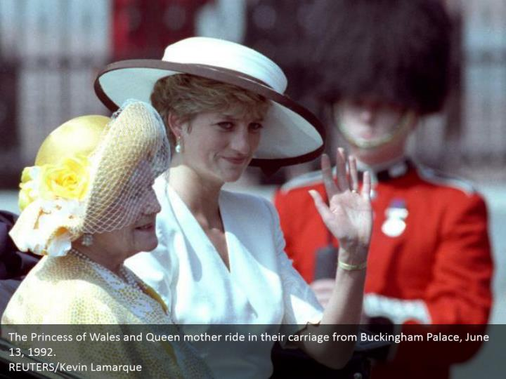 The Princess of Wales and Queen mother ride in their carriage from Buckingham Palace, June 13, 1992.  REUTERS/Kevin Lamarque