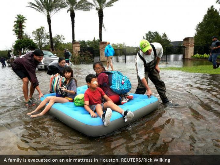 A family is evacuated on an air mattress in Houston. REUTERS/Rick Wilking