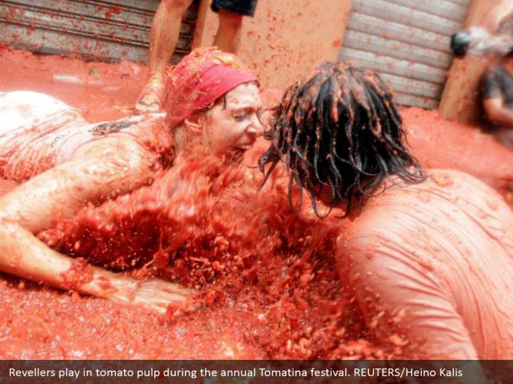 Revellers play in tomato pulp during the annual Tomatina festival. REUTERS/Heino Kalis
