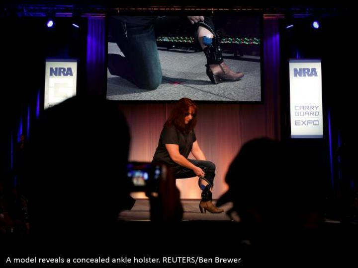 A model reveals a concealed ankle holster. REUTERS/Ben Brewer