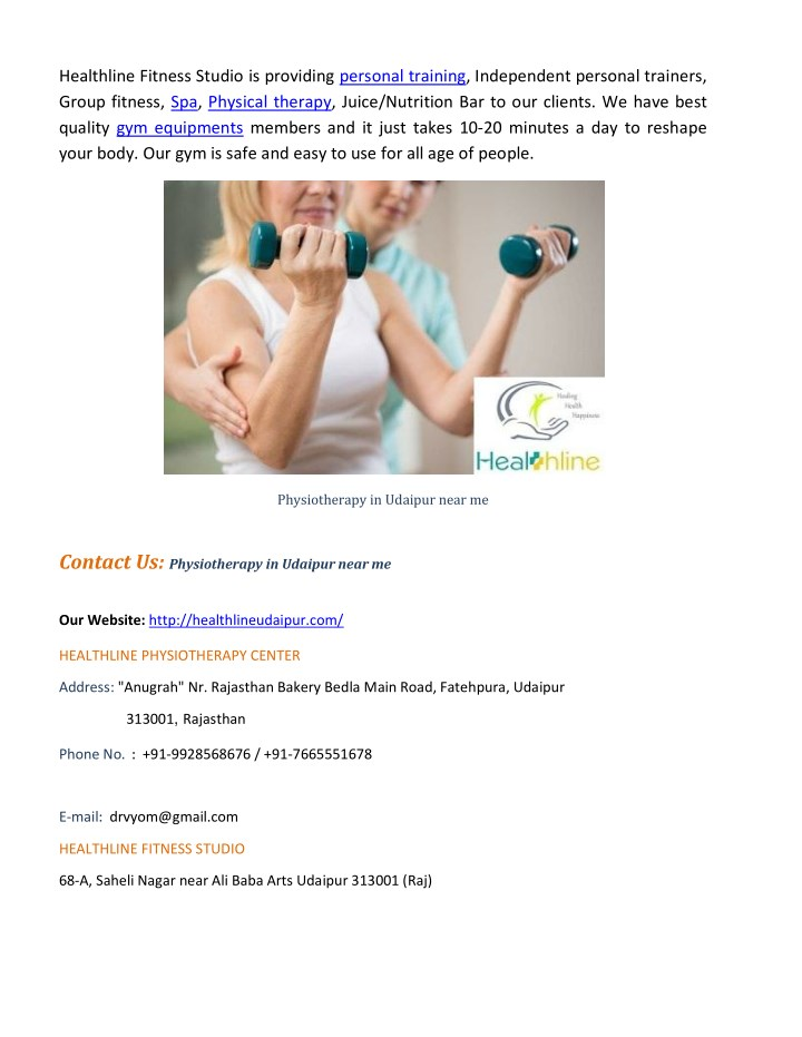 Healthline Fitness Studio is providing personal training, Independent personal trainers,