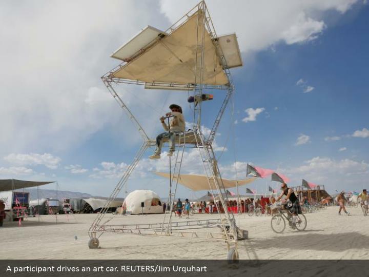 A participant drives an art car. REUTERS/Jim Urquhart