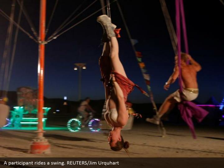 A participant rides a swing. REUTERS/Jim Urquhart