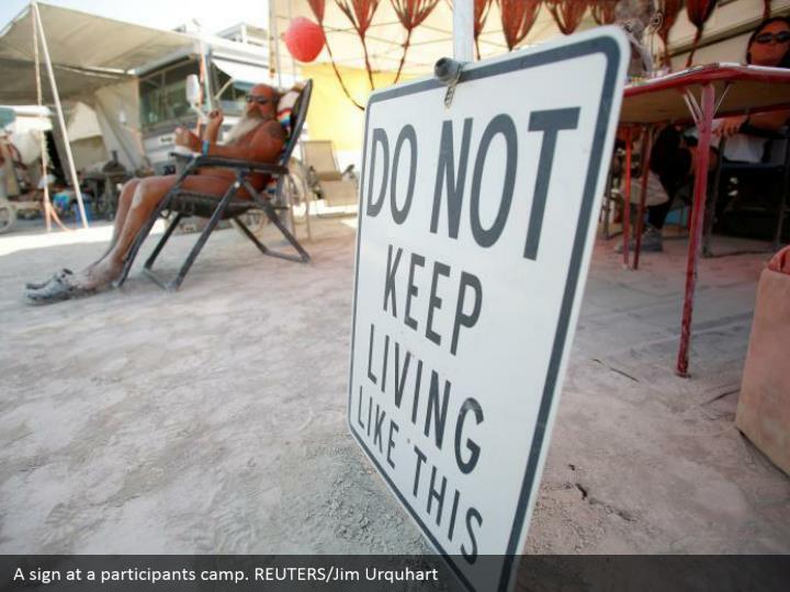 A sign at a participants camp. REUTERS/Jim Urquhart