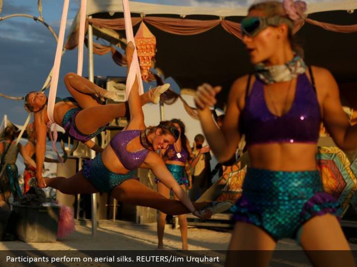Participants perform on aerial silks. REUTERS/Jim Urquhart