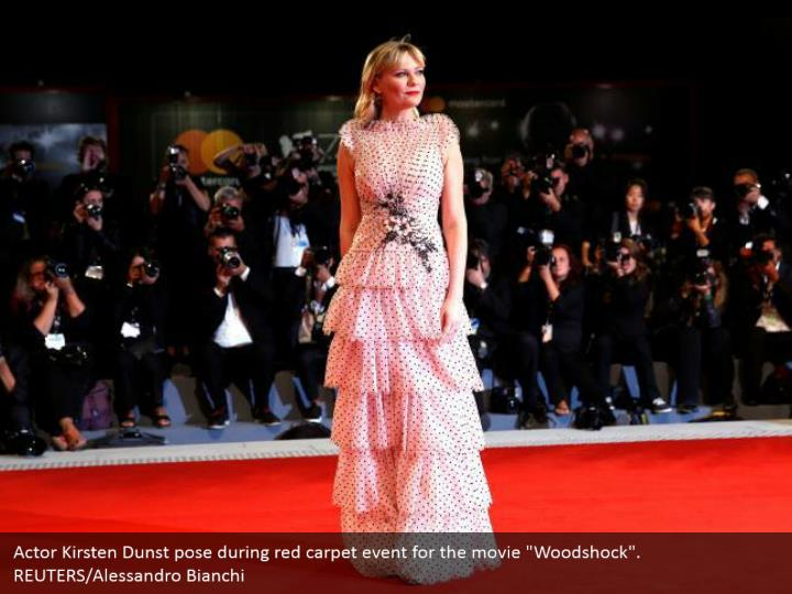 "Actor Kirsten Dunst pose during red carpet event for the movie ""Woodshock"". REUTERS/Alessandro Bianchi"