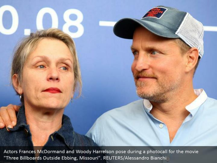 "Actors Frances McDormand and Woody Harrelson pose during a photocall for the movie ""Three Billboards Outside Ebbing, Missouri"". REUTERS/Alessandro Bianchi"