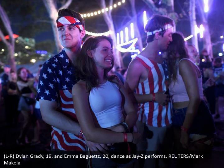 (L-R) Dylan Grady, 19, and Emma Baguettz, 20, dance as Jay-Z performs. REUTERS/Mark Makela