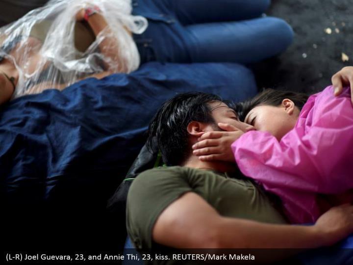 (L-R) Joel Guevara, 23, and Annie Thi, 23, kiss. REUTERS/Mark Makela