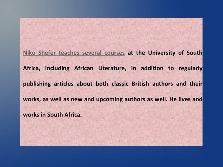 Niko Shefer teaches several courses