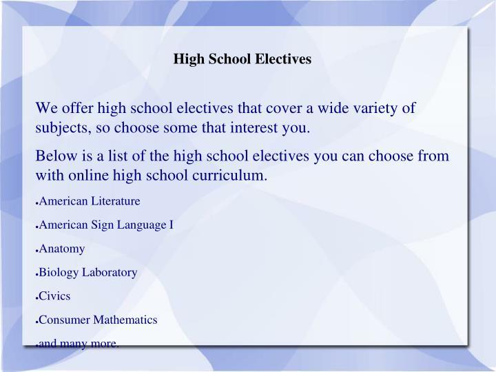 High School Electives