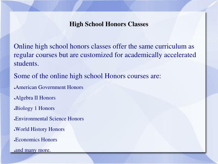 High School Honors Classes