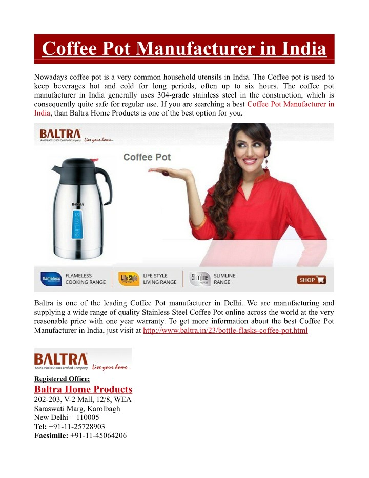 Coffee Pot Manufacturer in India
