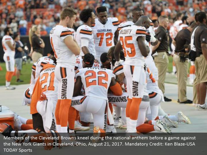 Members of the Cleveland Browns kneel during the national anthem before a game against the New York Giants in Cleveland, Ohio, August 21, 2017. Mandatory Credit: Ken Blaze-USA TODAY Sports