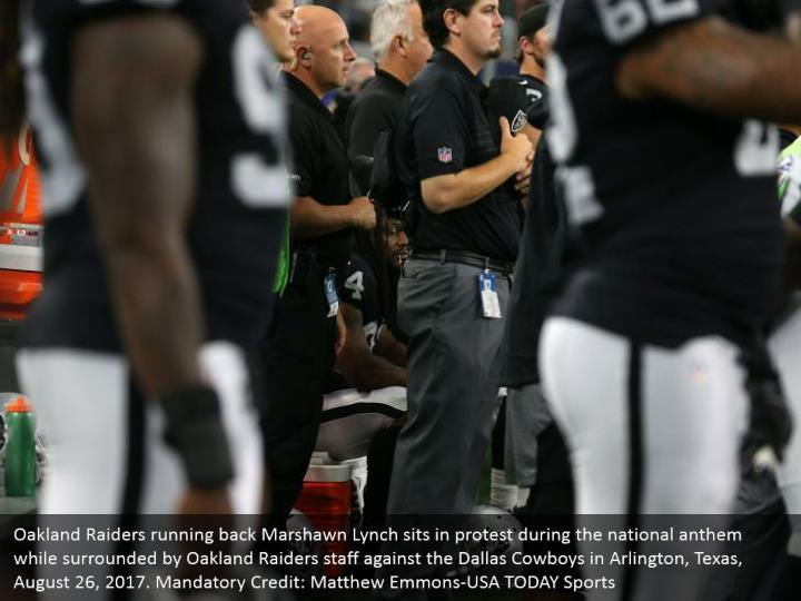 Oakland Raiders running back Marshawn Lynch sits in protest during the national anthem while surrounded by Oakland Raiders staff against the Dallas Cowboys in Arlington, Texas, August 26, 2017. Mandatory Credit: Matthew Emmons-USA TODAY Sports