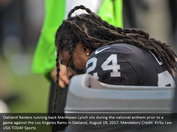 Oakland Raiders running back Marshawn Lynch sits during the national anthem prior to a game against the Los Angeles Rams in Oakland, August 19, 2017. Mandatory Credit: Kirby Lee-USA TODAY Sports