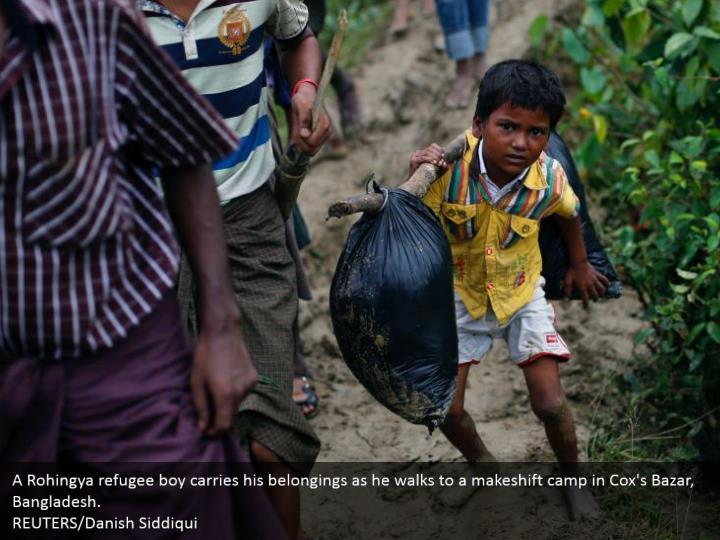 A Rohingya refugee boy carries his belongings as he walks to a makeshift camp in Cox's Bazar, Bangladesh.  REUTERS/Danish Siddiqui
