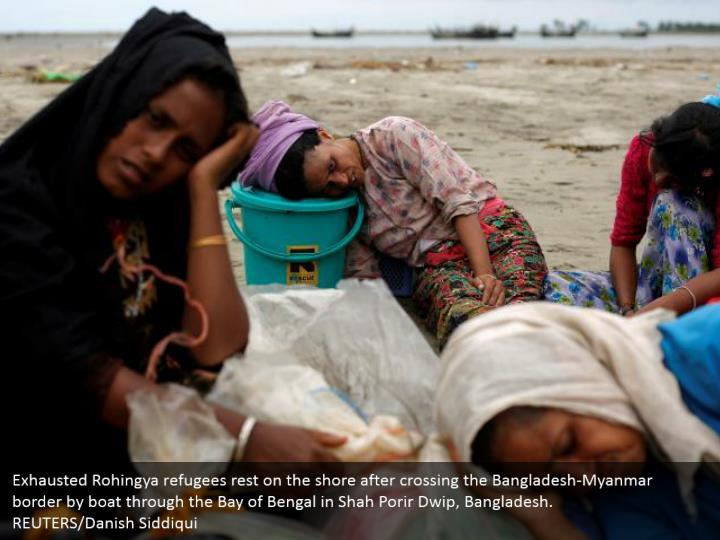 Exhausted Rohingya refugees rest on the shore after crossing the Bangladesh-Myanmar border by boat through the Bay of Bengal in Shah Porir Dwip, Bangladesh.  REUTERS/Danish Siddiqui