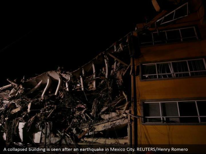 A collapsed building is seen after an earthquake in Mexico City. REUTERS/Henry Romero