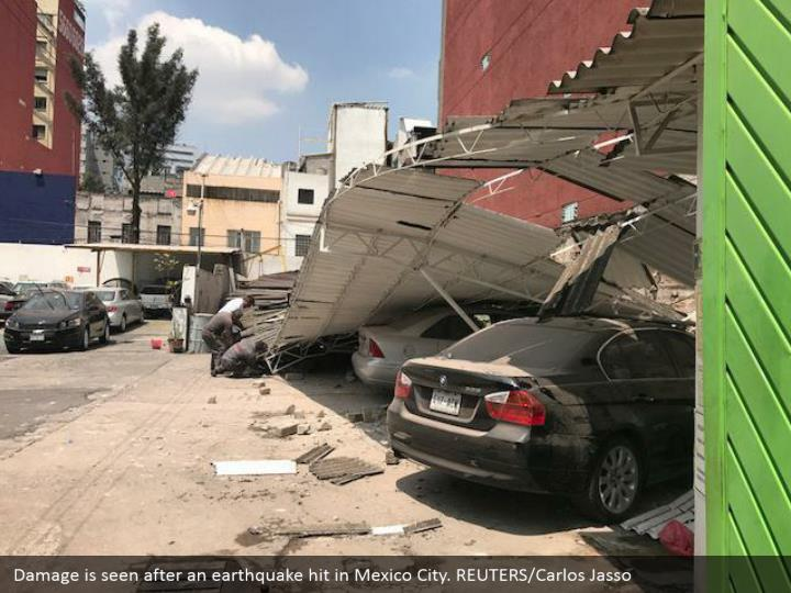 Damage is seen after an earthquake hit in Mexico City. REUTERS/Carlos Jasso