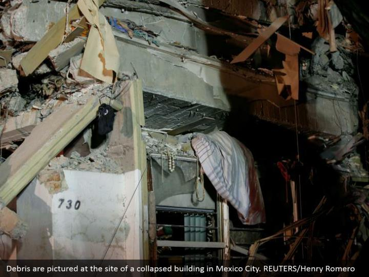 Debris are pictured at the site of a collapsed building in Mexico City. REUTERS/Henry Romero