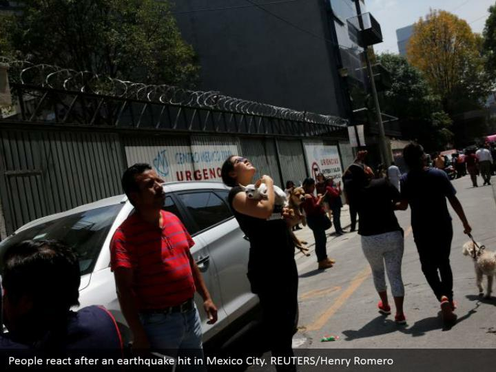 People react after an earthquake hit in Mexico City. REUTERS/Henry Romero