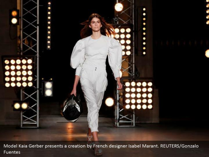 Model Kaia Gerber presents a creation by French designer Isabel Marant. REUTERS/Gonzalo Fuentes