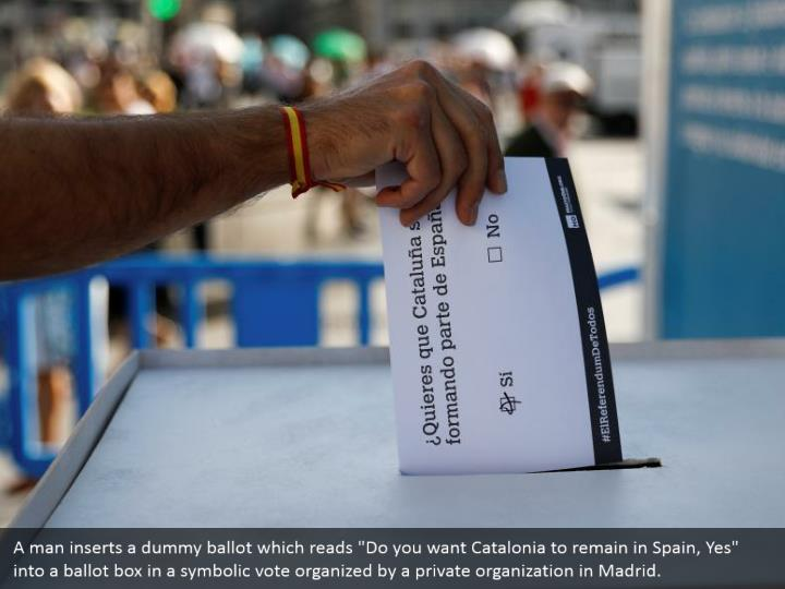"A man inserts a dummy ballot which reads ""Do you want Catalonia to remain in Spain, Yes"" into a ballot box in a symbolic vote organized by a private organization in Madrid."